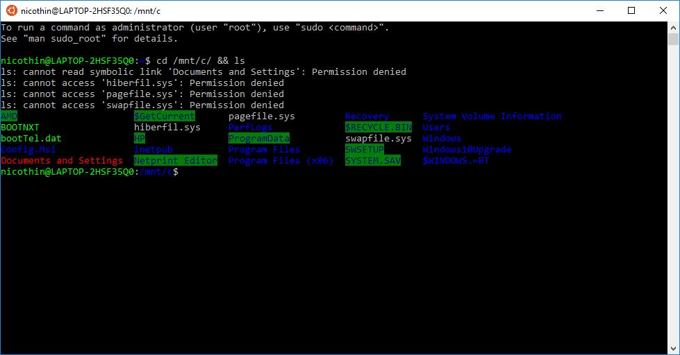 bash-терминал WSL по умолчанию