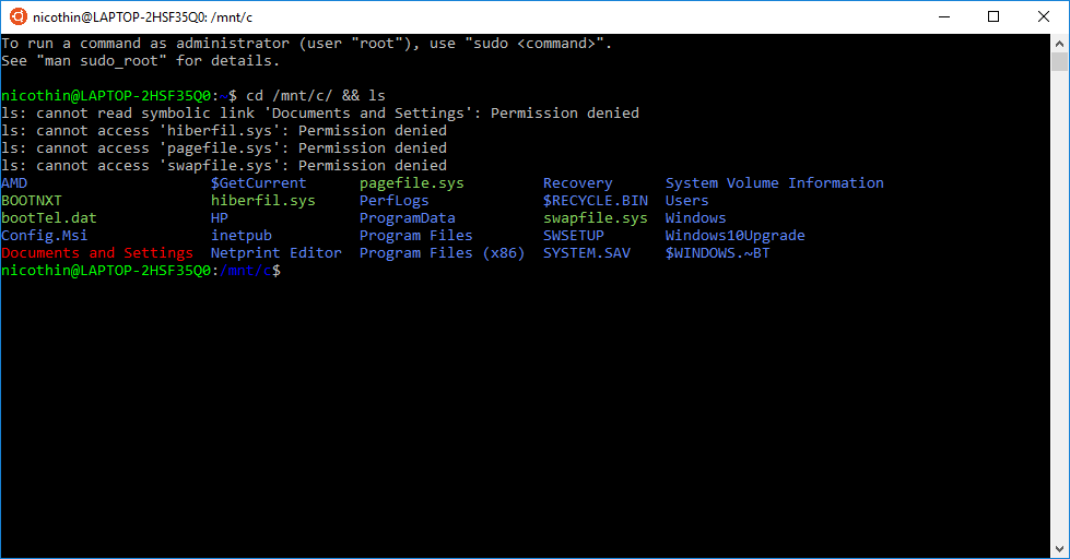 bash-терминал WSL после настройки цветов директорий и файлов