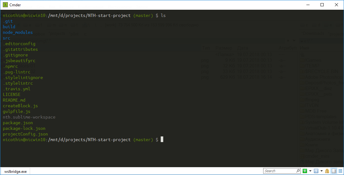 bash-терминал внутри cmder
